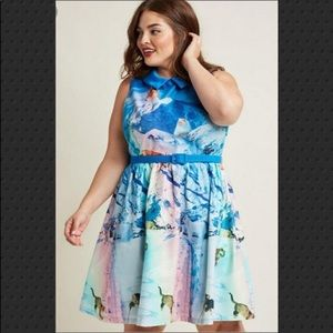 Modcloth Whimsy Without End Snow Cats Dress 1X